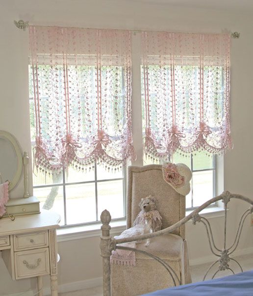 THC3014 Lace Pull Up Curtain 59x60L 6500 Pc Length Adjust By The Ribbon Color Cream Taupe Sage Rose Lavender Vanila Burgundy Antique Copper Country