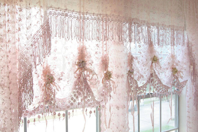 Rose Colored Country Style Kitchen Curtains
