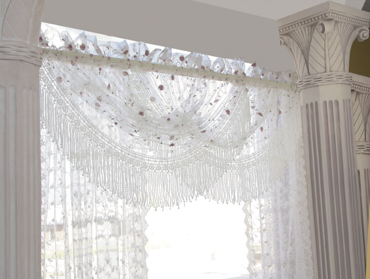 THC3011 Irish Rose Pattern Scalloped Valance Size $49.00/pc (Picture Shown  Intertwined Of 2 Valances)